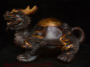 Chinese Copper Bronze Fengshui Animal Dragon Tortoise Loong Turtle Beast Statue