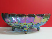 Indiana Carnival Glass Large Oval Footed Blue Harvest Grape Fruit Bowl