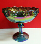 Indiana Carnival Blue Glass Compote Footed Fruit Bowl 7.5 H