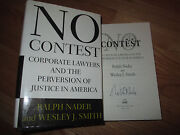 Ralph Nader Signed No Contest 1996 1st Edition Hard Cover Book Coa