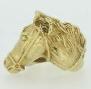 9ct Gold Ring - 9ct Yellow Gold Horse Head Ring Size Q 1/2