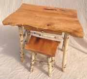 Live Edge Cherry Table/desk With Drawer Cherry Stool Natural Birch Legs W/bark