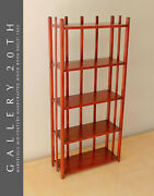 Gorgeous Mid Century Modern Cherry Stained Handcrafted Wood Book Shelf 1950s