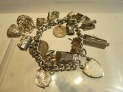 Vintage Solid Silver 15 Charm Bracelet Set With Opal And Thistle Padlock.