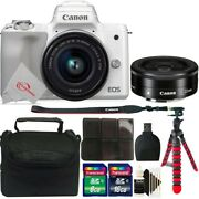 Canon Eos M50 Mirrorless Camera White With 15-45mm, Ef-m 22mm Lens Accessory Kit