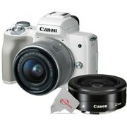 Canon Eos M50 Mirrorless Digital Camera White With 15-45mm + Ef-m 22mm Stm Lens