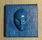 Original 4x4 Miniature Painting Angel In Blue By Ronnie Greatrex Free Shipping