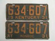 Pair 1931 Kentucky License Plate Tag