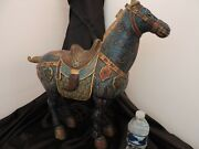 Large 23 Antique Tang Horse Statue Finely Hand Decorated Vintage Horse Figurine