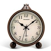 Peakeep 4 Battery Operated Antique Retro Analog Alarm Clock, Small Silent Be...