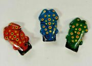 Set Of 3 Vintage Tin Toy Frog Clickers, Made In Japan, 1950's-60's New Old Stock