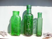 44341 Old Vintage Antique Glass Bottle Bottles Jars Shabby Chic Upcycle Green X3