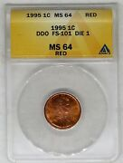 1995 Double Die Lincoln Cent Anacs Ms 64 Red