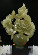 China 100 Natural Stone Jade Hand-carving Fengshui Flower Tree Bird Vase Statue