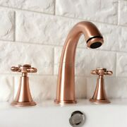 Antique Red Copper Widespread 3 Hole Install Bathroom Vessel Sink Tap Faucet