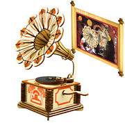 Cw_ 3d Wooden Puzzle Phonograph Model Kids Children Education Toy Gift Home Deco