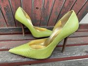 Lime Green Snakeskin Euc 9.5 Leather Pointy Toe Stiletto Heel Pump Carrie Guess