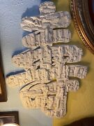 Large Antique White Chinese Wood Hand Carved Wall Art Panel