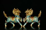 Old China Bronze Cloisonne Enamel Fengshui Kylin Chi-lin Qilin Beast Statue Pair