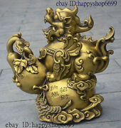 15 China Fengshui Animal Brass Dragon Unicorn Pixiu On Lucky Coin Gourd Statue