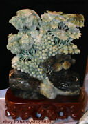 Chinese Natural Dushan Jade Stone Carving Fruit Growing In Close Clusters Statue