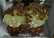 23 Collect China 100 Afghan Jade Stone Carving Flower Plum Blossom Tree Statue