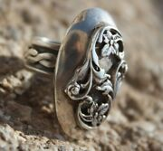 Sterling Silver Ring Jewelry Israeli Art Nouveau Brutal 925 Style Unisex Floral