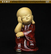 Old Chinese Color Porcelain Kid Babe Child Bairn Tongzi Boy Buddhist Monk Statue