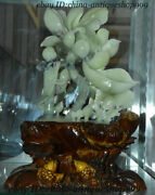 14 China 100 Dongbei Xiuyu Jade Hand-carving Fengshui Lotus Flower Tree Statue