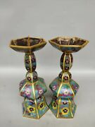 Old China Dynasty Bronze Cloisonne Enamel Candle Holder Candlestick Statue Pair
