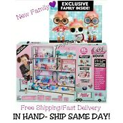 Lol Surprise Doll House 85+ Surprises Wooden Multi Story W/new Family In Hand