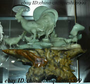 14 China Natural Xiuyu Jade Carving Fengshui 12 Zodiac Year Rooster Cock Statue
