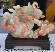 16 China 100 Natural Afghan Jade Carving Golden Toad Spittor Corn Coin Statue