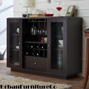 Buffet Server Sideboard Wine Cabinet Console Table Dining Room W/ Storage Brown