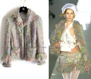 03a 2003 Green Multicolor Mohair Wool Jacket Includes Scarf Fr40