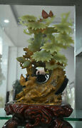 15 China 100 Natural Stone Jade Carved Pine Tree Bird Squirrel Ornament Statue