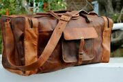 Men's New Brown Vintage Genuine Travel Luggage Duffle Gym Bags Tote Goat Leather
