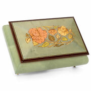 Glossy Turquoise Inlaid Wood Jewelry Music Box Plays Waltz Of The Flowers