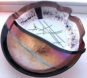 Fused Glass Bowl Ruffle Edge Iridescent Gold Black And White Huge 17in Signed