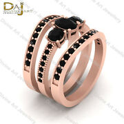 Oval And Round Cut Black Diamond 3 Stone Engagement Ring Set 3pc Solid Rose Gold