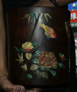 7 Chinese Rosewood Inlay Shell Flower Bird Pen Container Brush Pot Pencil Vase