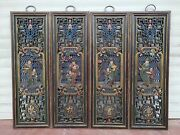 Chinese Camphor Wood Coloured Drawing Fancies Of Men Of Letters Wall Hanging Set