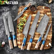 New Selling Kitchen Knives Set Damascus Steel Chefs Knife Blue Resin Handle