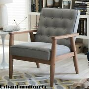 Mid-century Retro Modern Accent Chair Wooden Arm Upholstered Lounge Chairs