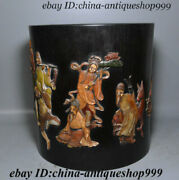 11 Chinese Rosewood Inlay Jade People Poetry Horse Statue Brush Pot Pencil Vase