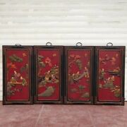 32 Old China Wood Lacquerware Fancies Of Men Of Letters Wall Hanging Statue Set