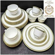 40 Pieces Vintage Minton Bone China Milford H5247 - 5 Pieces Place Setting For 8