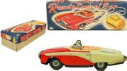 Vintage Japanese Futuristic Remote Control Tin Lithographed Toy Car W/ Box