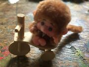 Vintage Monchhichi Chiccaboo Style Monkey Baby On Bike Light Brown Rare