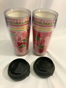 Starbucks Barista Red Rose 2004 Lot Of 2 Hot Cold Cup Tumblers 16 Oz With Lid
